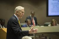 Walt Humann, CEO of the Fair Park Texas Foundation,  addressed the Dallas City Council during a briefing on the management contract Monday.(Rex Curry/Special Contributor)