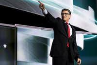 Former Texas Gov. Rick Perry points to the crowd during the second session of the Republican National Convention in Cleveland.Smiley Pool/Staff Photographer