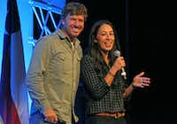 Chip and Joanna Gaines of Magnolia Homes and HGTV'•s Fixer Upper show are photographed while speaking at the Gaylord Texan Convention Center in Grapevine, Texas photographed on Wednesday, August 3, 2016. (Louis DeLuca/Staff Photographer)