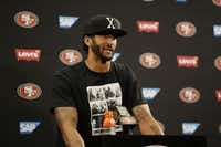 "Then-San Francisco 49ers quarterback Colin Kaepernick answered questions at a news conference after a preseason game in August 2016. (File Photo/<p><span style=""font-size: 1em; line-height: 1.364; background-color: transparent;"">The Associated Press</span><br></p><p></p>)"