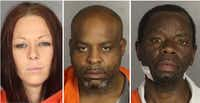 <p>Caridy Lynn Walker got six years in prison, Marvin Levi (center) got 30 years, and Andre Renor Evans got 12 life sentences in the Waco sex slave case. (McLennan County Jail)</p>