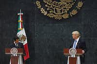 Donald Trump, the Republican presidential nominee, during a joint news conference with Mexican President Enrique Pena Nieto, after the two met at the Los Pinos residence in Mexico City, Aug. 31, 2016. Trump said he focused on shared economic interests and security interests in their meeting. He also said he did discuss his intention to build a wall on the U.S.-Mexico border, but that the two did not discuss who would pay for it. (Rodrigo Cruz/The New York Times)(NYT)