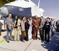 In 1976, NASA's space shuttle Enterprise rolled out of the Palmdale manufacturing facilities and was greeted by NASA officials and cast members from the 'Star Trek' television series.(NASA)