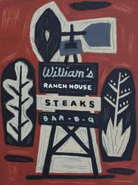 <i>Williams Ranch House Steaks & Bar-B-Q  Ft. Worth, Texas,</i>  24 x 18 inches  Oil & house paint on canvas  2016Jon Flaming