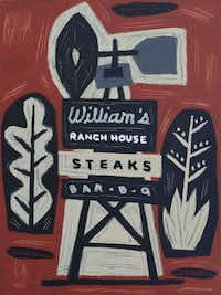 <i>Williams Ranch House Steaks & Bar-B-Q  Ft. Worth, Texas,</i>  24 x 18 inches  Oil & house paint on canvas  2016(Jon Flaming)