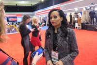 Katrina Pierson, former Dallas congressional candidate, speaks with reporters on behalf of the Donald Trump presidential campaign at the Charleston, S.C., GOP debate on Jan. 14, 2016. (Todd J. Gillman/Staff writer)