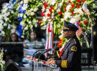 Brown speaks during a funeral service for Dallas police Officer Patrick Zamarripa, one of officer killed during the July 7 ambush in downtown Dallas.(Ashley Landis/The Dallas Morning News)