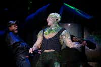 Walter Lee (left), as Black Dude, and John Campione (right), as Toxic Avenger are part of the nimble five-person cast for 'The Toxic Avenger' that was recognized for Best Ensemble by the Dallas-Fort Worth Theater Critics Forum. The show continues through Sept 11, 2016 at the  Kalita Humphreys Theater.(Andy Jacobsohn/Staff Photographer)