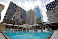 The new swimming pool at The Adolphus is on the seventh floor of the downtown Dallas hotel. (Ben Torres/Special Contributor)
