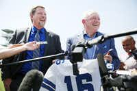 Dallas Cowboys owner Jerry Jones (right) and Treg Manning, Airbus Helicopters vice president of sales and marketing, spoke to reporters Thursday after unveiling the Cowboys' new corporate helicopter at the team's headquarters in Frisco.(Andy Jacobsohn/Staff Photographer)