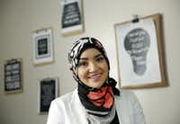 Ghadir Qaddura, who was a freshman at Grapevine High School on Sept. 11, 2001. She began wearing a hijab a year later as a way to take ownership of her faith. She is now an academic advisor at Brighter Horizons Preparatory Academy in Garland.(Tom Fox/Staff Photographer)
