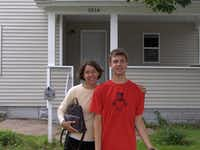 Helen Crary Stassen and her son, Benjamin Stassen, outside of Benjamin's college house in Fall 2009.(Photo provided by Helen Crary Stassen<br>)