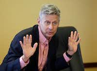 In this May 18, 2016 file photo, Libertarian presidential candidate, former New Mexico Gov. Gary Johnson speaks with legislators at the Utah State Capitol in Salt Lake City. The day after political heavyweight Mitt Romney name-dropped him on Twitter, the former New Mexico governor seemed to reveal a hole in his foreign-affairs knowledge when he was befuddled by an otherwise routine question about the Syrian city of Aleppo. (AP Photo/Rick Bowmer, File)AP