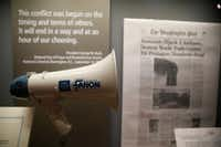 The megaphone Bush used at the World Trade Center is among the displays. (Nathan Hunsinger/Staff Photographer)