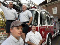 <p>Bob Poynter (top left) was part of a task force assigned in October 2005 to cross-train officers who arrived in St. Bernard Parish in Louisiana soon after Hurricane Katrina struck New Orleans. Other members included (clockwise from top right) engineer/paramedic Rusty Massey, section chief Shane LeCroy and firefighter/paramedic Devin Penny. (File Photo/Staff)</p>(<p><br></p>)