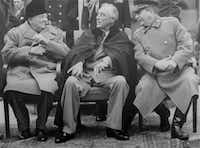 President Franklin D. Roosevelt's deteriorating health was more apparent, though still unacknowledged, at the world-changing Yalta Conference with British Prime Minister Winston Churchill and Russian President Josef Stalin in February 1945. FDR died two months later.  (File Photo/The Associated Press)