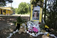 A memorial for Sandra Bland was placed near the site where she was arrested in Prairie View in July 2015. (The New York Times)
