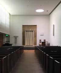 Lefkowitz Chapel at Temple Emanu-El, a pristine white box, was merely tweaked to let in more natural light.(Mark Lamster/Staff)