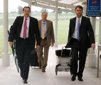 The defense team for Enrique Arochi arrived at the courthouse Friday: (From left) Investigator Randi Ray, attorney Steven Miears and attorney Keith Gore.(David Woo/Staff Photographer)