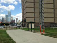 A city trail along the Trinity dead-ends into the Dawson State Jail. (Robert Wilonsky/Staff)