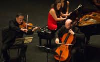 "Cho-Liang Lin, left, Qian Wu, and Clive Greensmith perform Anton Arensky'€™s Piano Trio #1 in D Minor, Op. 32 at Dallas City Performance Hall on September 18, 2016. (<p><span style=""font-size: 1em; background-color: transparent;"">(Robert W. Hart/Special Contributor)</span><br></p><p></p>)"