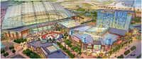 Artist rendering of proposed new Texas Rangers stadium and proposed Texas Live! development((Populous))