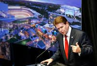 Arlington Mayor Jeff Williams welcomes guests to a news conference revealing new details about the planned Texas Live! entertainment complex next to Globe Life Park in Arlington. The development is expected to open by the start of the 2018 season.((Tom Fox/The Dallas Morning News))
