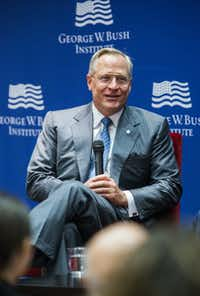 Ross Perot, Jr., chairman of the Perot Group, speaks during a trade conversation with U.S. Trade Representative Ambassador Michael Froman, not pictured, on Tuesday, September 20, 2016 at the George W. Bush Institute on the campus of Southern Methodist University in Dallas. (Ashley Landis/The Dallas Morning News)(Ashley Landis/Staff Photographer)
