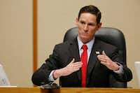Dallas County Judge Clay Jenkins speaks during a Dallas County Commissioners Court special meeting in 2014. Jenkins has advocated for lower tax rates. (Andy Jacobsohn/The Dallas Morning News)(Staff Photographer)