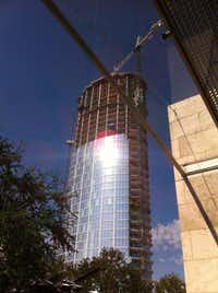 "The Glare appeared even before construction on Museum Tower was finished. This photograph was taken on Sept. 26, 2011.  (<div><span style=""background-color: transparent; font-size: 0.6875rem;"">Nasher Sculpture Center</span><br></div>)"