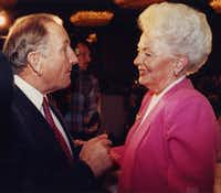FILE PHOTO: Republican gubernatorial candidate Clayton Williams told Democratic candidate Ann Richards that she was a liar and refused to shake her hand before a luncheon with the Greater Dallas Crime Commission in 1990.(Digital File_EMAIL)
