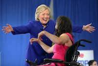 Democratic presidential nominee Hillary Clinton goes to hug Anastasia Somoza after Anastasia introduced Clinton during a campaign stop in Orlando, Fla., Wednesday, Sept. 21, 2016.  (Joe Burbank/Orlando Sentinel via AP)(AP)