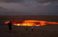 A 200-foot-wide pit of burning natural gas in the Turkmenistan desert is known as the Doorway to Hell. (Atlas Obscura)