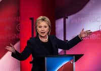 Hillary Clinton during the Democratic debate at the University of New Hampshire in Durham on Feb. 4.(New York Times/Todd Heisler)