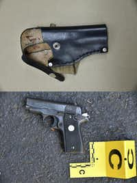 Photos provided by the Charlotte-Mecklenburg Police Department on Saturday, Sept. 24, 2016 show an ankle holster, top, and a gun which police say were in Keith Scott''s possession at the time he was fatally shot by police in Charlotte, N.C., on Sept. 20, 2016. (Charlotte Mecklenburg Police, via AP)