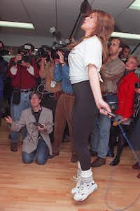Alicia Machado worked out in front of reporters at a New York fitness center in 1997. She was 20 years old. (File Photo/The Associated Press)