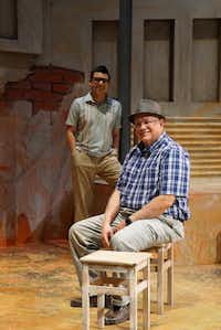 "Actor Chris Ramirez (left) plays Mario Trevino (right) in ""Crystal City 1969"" for Cara Mia Theatre at the Latino Cultural Center in Dallas, Texas. (Lawrence Jenkins/Special Contributor)"