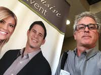 The closest DallasNews.com Watchdog got to Tarek and Christina El Moussa of HGTV's <i>Flip or Flop</i> is this banner at a hotel seminar using their name.