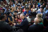 Sen. Tim Kaine pressed the flesh after a rally in Richmond, Va., in August. Chet Strange/The New York Times