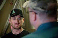 Derek Bruce (left) of Rahr & Sons Brewing Company talks with Gary James at the brewery. James is a student in Eastfield College's Journeyman Brewer program. Bruce graduated from the program and was hired at Rahr & Sons last year.(G.J. McCarthyStaff Photographer)