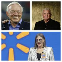 Dallas Cowboys owner Jerry Jones (top left), pipeline magnate Kelcy Warren and Wal-Mart heiress Alice Walton are among the richest in Texas, based on Forbes' 2016 rankings.