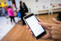 "<p><span style=""font-weight: normal;""><span style=""font-size: 1em; background-color: transparent;"">Honor home-health staff demonstrate use of the company's app, which the company's founders have described as the Uber of home health. (Smiley N. Pool/The Dallas Morning News)</span></span></p>(Staff Photographer)"
