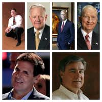 Clockwise from top left: Andrew Beal, Ray Hunt, Robert Rowling, H. Ross Perot Sr., Trevor Rees-Jones and Mark Cuban.