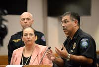 Police chief Orlando Rodriguez addresses the media, Tuesday, Oct. 4, 2016, in Brownsville, Texas. The local school district and city officials spoke to the media regarding recent threat-like hoaxes directed at area schools resulting in one student's arrest and a pending investigation.(Jason Hoekema/AP)