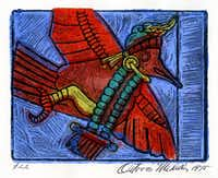 <i>The Hummingbird</i> , Block Print, 1975, Octavio Medellin Collection, Bywaters Special Collections, Hamon Arts Library, SMU(Hamon Arts Library, SMU)