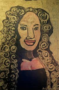 A portrait of actress Kyndra Mack painted by student Sara Oleksy. The painting will be on display at the show of 'Midas,' which will be presented from Oct. 7 to Oct. 23 at the Oak Cliff Cultural Center. (Jae S. Lee/Staff Photographer)