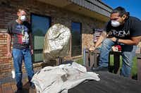 """Jonah Gutierrez (right), theater teacher and technical director of PrismCo, and student Scott Walter work on a sculpture called """"Gold Nugget"""" at My Possibilities in Plano, Texas, Thursday, Sept. 29, 2016. The sculpture will be used at the show of 'Midas,' which will be presented from Oct. 7 to Oct. 23 at the Oak Cliff Cultural Center. The My Possibilities has developed a partnership with a local theater company, PrismCo.Jae S. Lee/Staff Photographer"""