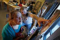 """<p><span style=""""font-size: 1em; background-color: transparent;"""">Art teacher Casey Parrott (right) helps his student Rosie Alvarado paint a portrait of actress Debbie Crawford during an art class at My Possibilities in Plano, Texas, Thursday, Sept. 29, 2016. Her painting will be on display at the show of 'Midas,' which will be presented from Oct. 7 to Oct. 23 at the Oak Cliff Cultural Center. My Possibilities has developed a partnership with a local theater company, PrismCo, and is currently creating artwork for the theater's upcoming production of 'Midas.' The artwork will be auctioned off at the Oct. 14 performance.</span></p>Jae S. Lee/Staff Photographer"""