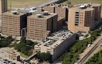 Aerial photo of the Frank Crowley Courts Building (left) and Lew Sterrett Justice Center.(G.J. McCarthy/Staff Photographer)
