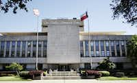 The large inscription in front of <i>The Dallas Morning News</i> is one of the most recognizable landmarks in downtown Dallas. (David Woo/Staff Photographer)